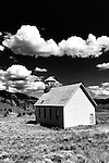 Black and white image of old white church in Creed Colorado