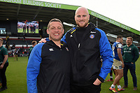 Bath Rugby first team coach Toby Booth and Matt Garvey pose for a photo after the match. Gallagher Premiership match, between Leicester Tigers and Bath Rugby on May 18, 2019 at Welford Road in Leicester, England. Photo by: Patrick Khachfe / Onside Images