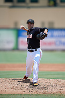 Jupiter Hammerheads starting pitcher Josh Roeder (12) delivers a pitch during a game against the Palm Beach Cardinals on August 5, 2018 at Roger Dean Chevrolet Stadium in Jupiter, Florida.  Jupiter defeated Palm Beach 3-0.  (Mike Janes/Four Seam Images)
