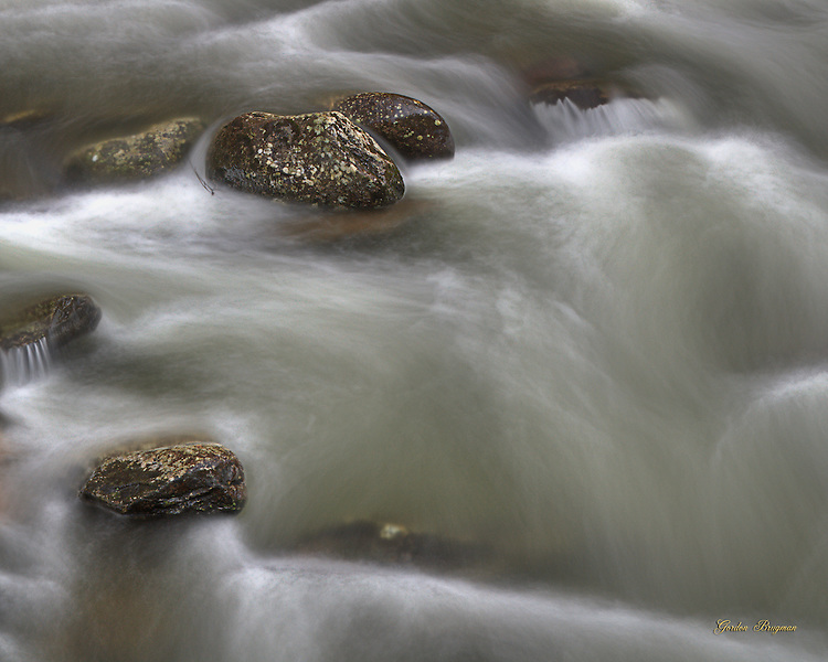 Semi-abstract image of flowing water, Greenbrier River. Three exposure HDR.