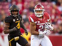 Hawgs Illustrated/BEN GOFF <br /> Devwah Whaley, Arkansas running back, evades Brandon Lee (4), Missouri linebacker, in the third quarter Friday, Nov. 24, 2017, at Reynolds Razorback Stadium in Fayetteville.