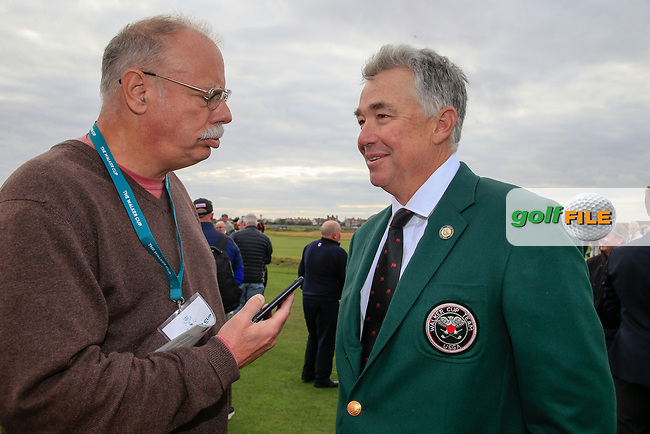 Alex Maceli speaking with Nathaniel Crosby (GB&I Captain) during the opening ceremony at the Walker Cup, Royal Liverpool Golf CLub, Hoylake, Cheshire, England. 06/09/2019.<br /> Picture Fran Caffrey / Golffile.ie<br /> <br /> All photo usage must carry mandatory copyright credit (© Golffile   Fran Caffrey)