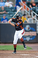 Garrett Copeland (12) of the Aberdeen IronBirds at bat against the Hudson Valley Renegades at Leidos Field at Ripken Stadium on July 27, 2017 in Aberdeen, Maryland.  The Renegades defeated the IronBirds 2-0 in game one of a double-header.  (Brian Westerholt/Four Seam Images)