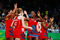 England players celebrate after winning against New Zealand. Gold Coast 2018 Commonwealth Games, Netball, New Zealand Silver Ferns v England, Gold Coast Convention and Exhibition Centre, Gold Coast, Australia. 11 April 2018 © Copyright Photo: Anthony Au-Yeung / www.photosport.nz /SWpix.com