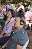 Latitude Festival, Henham Park, Suffolk, UK July 2018. Clive Lewis, Labour South Labour MP, taking part in John Pienaar's Sunday morning BBC Radio 5 Live politics show