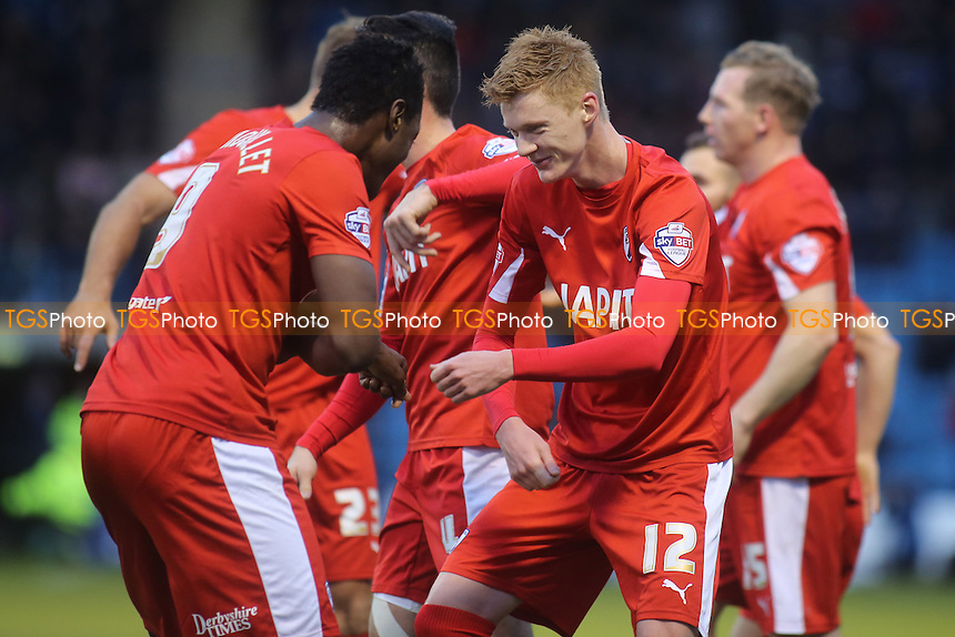Sam Clucas (No 12) celebrates scoring Chesterfield's opening goal with Armand Gnanduillet - Gillingham vs Chesterfield - Sky Bet League One Football at Priestfield Stadium, Gillingham, Kent - 20/12/14 - MANDATORY CREDIT: Paul Dennis/TGSPHOTO - Self billing applies where appropriate - contact@tgsphoto.co.uk - NO UNPAID USE