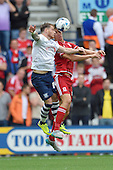 09/08/2015 Sky Bet League Championship Preston North End v Middlesbrough <br /> Joe Garner challenges with Daniel Ayala