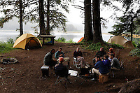 Moser Island camp site used on a ground truthing expedition by Bob Christensen,Richard Carstensen, Keynon Fields and Eric Ringler, to see investigating past and proposed timber projects in the Tongass National Forest.  Looking at the past and trying to determine the effect of proposed cuts..The group downloads information that was collected from field notes, pictures and information from wireless GPS units they wear in their hats as they hike through the forest and estuaries.   They are mapping the forest, uncut, proposed cut and old logging sites to see what is there...They were joined plane flew in with Ken Leghorn, daughter Yana, Maya and Ken Rait, and Michael Webster.