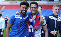 Bolton Wanderers' Derik Osede and Antonee Robinson at the end of todays match<br /> <br /> Photographer Rachel Holborn/CameraSport<br /> <br /> The EFL Sky Bet Championship - Bolton Wanderers v Nottingham Forest - Sunday 6th May 2018 - Macron Stadium - Bolton<br /> <br /> World Copyright &copy; 2018 CameraSport. All rights reserved. 43 Linden Ave. Countesthorpe. Leicester. England. LE8 5PG - Tel: +44 (0) 116 277 4147 - admin@camerasport.com - www.camerasport.com