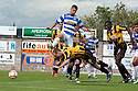 East Fife's Johnny Stewart bravely heads clear from Morton's Michal Mabou.