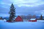 Idaho, Central,McCall. A winter farm scene in a snow covered landscape with red outbuildings.