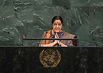 72 General Debate &ndash; 23rd of September  2017<br /> <br /> Her Excellency Sushma SWARAJ<br /> <br /> Minister for External Affairs of the<br /> REPUBLIC OF INDIA