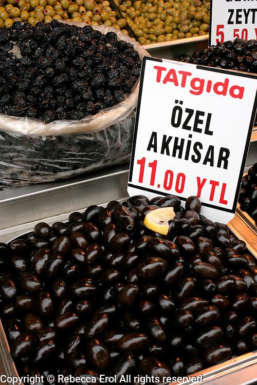 Akhisar olives for sale in Eminonu, Istanbul, Turkey