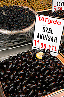 Akhisar olives for sale in Eminonu, Istanbul, Turkey