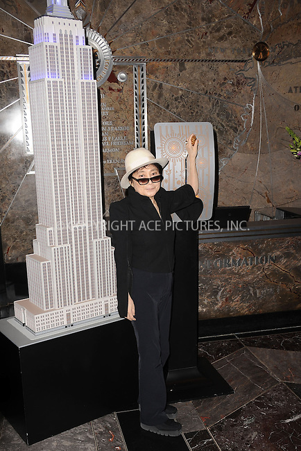 WWW.ACEPIXS.COM . . . . . .April 2, 2013...New York City....Artist Yoko Ono attends 'World Autism Awareness Day' Celebration at The Empire State Building on April 2, 2013 in New York City ....Please byline: KRISTIN CALLAHAN - ACEPIXS.COM.. . . . . . ..Ace Pictures, Inc: ..tel: (212) 243 8787 or (646) 769 0430..e-mail: info@acepixs.com..web: http://www.acepixs.com .