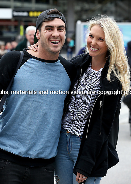 20 AUGUST 2014 SYDNEY AUSTRALIA<br /> <br /> EXCLUSIVE PICTURES<br /> <br /> The Block Glasshouse 2014 contestants Karstan Smith and Maxine Stokes pictured on arrival into Melbourne at the airport as they make their way to the carpark.<br /> <br /> <br />  *No internet without clearance*.<br /> MUST CALL PRIOR TO USE <br /> +61 2 9211-1088. <br /> <br /> Matrix Media Group.Note: All editorial images subject to the following: For editorial use only. Additional clearance required for commercial, wireless, internet or promotional use.Images may not be altered or modified. Matrix Media Group makes no representations or warranties regarding names, trademarks or logos appearing in the images.