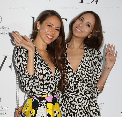 Jessica Michibata, Angelica Michibata,Mar 20 2014 : Jessica and Angelica Michibata attend a photocall after Diane von Furstenberg fashion show Shibuya Hikarie Tokyo Jpan on 20 Mar 2014. (Photo by Motoo Naka/AFLO)