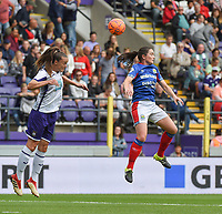 20190813 - ANDERLECHT, BELGIUM : Anderlecht's Tine De Caigny (L) and Linfield's Clare Timoney (R) pictured during the female soccer game between the Belgian RSCA Ladies – Royal Sporting Club Anderlecht Dames  and the Northern Irish Linfield ladies FC , the third and final game for both teams in the Uefa Womens Champions League Qualifying round in group 8 , Tuesday 13 th August 2019 at the Lotto Park Stadium in Anderlecht  , Belgium  .  PHOTO SPORTPIX.BE   DIRK VUYLSTEKE