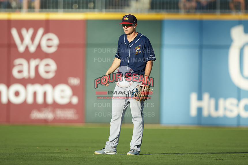 Toledo Mud Hens second baseman Jason Krizan (14) on defense against the Charlotte Knights at BB&T BallPark on June 22, 2018 in Charlotte, North Carolina. The Mud Hens defeated the Knights 4-0.  (Brian Westerholt/Four Seam Images)