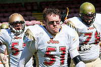 09 MAY 2010 - NORTHAMPTON, GBR - Loughborough Aces take to the field before their British Universities American Football Championship Final match against the Birmingham Lions .(PHOTO (C) NIGEL FARROW)