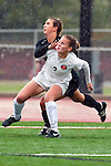 Palos Verdes, CA 01/26/10 - Hailey Smith (2) and Alex Rosen (MC #20) in action during the Mira Costa vs Palos Verdes Girls Varsity soccer game at Palos Verdes High School.