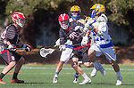 Santa Barbara, CA 04/16/16 - Troy Loper (UCSB #21) and Brent Melbye (Chapman #29) in action during the final regular MCLA SLC season game between Chapman and UC Santa Barbara.  Chapman defeated UCSB 15-8. in action during the final regular MCLA SLC season game between Chapman and UC Santa Barbara.  Chapman defeated UCSB 15-8.