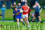 Mark Behan St Senans and Shane Fitzmaurice Brosna collide for the ball during the North Kerry Division 1 League final played in Duagh on Saturday evening.