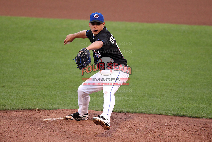 Buffalo Bisons pitcher Jose De La Torre delivers a pitch during a game vs. the Lehigh Valley IronPigs at Coca-Cola Field in Buffalo, New York;  August 1, 2010.  Buffalo defeated Lehigh Valley 2-1 in 10 innings.  Photo By Mike Janes/Four Seam Images