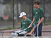 Nate Melnyk, left, and doubles partner Bobby Bellino of Harborfields switch sides during their varsity boys tennis match against host Smithtown High School East on Tuesday, Apr. 29, 2016. Melnyk, a wheelchair-using junior, played in his first varsity match, which was suspended in the first set due to the inclement weather. The match is set to resume on Monday, May 2.