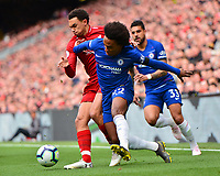 Liverpool's Trent Alexander-Arnold vies for possession with Chelsea's Willian<br /> <br /> Photographer Richard Martin-Roberts/CameraSport<br /> <br /> The Premier League - Liverpool v Chelsea - Sunday 14th April 2019 - Anfield - Liverpool<br /> <br /> World Copyright © 2019 CameraSport. All rights reserved. 43 Linden Ave. Countesthorpe. Leicester. England. LE8 5PG - Tel: +44 (0) 116 277 4147 - admin@camerasport.com - www.camerasport.com