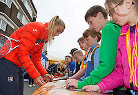 April 17, 2015, Netherlands, Den Bosch, Maaspoort, Fedcup Netherlands-Australia,  Arantxa Rus  (NED) signing  aurographs<br /> Photo: Tennisimages/Henk Koster