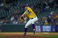 LSU Tigers relief pitcher Devin Fontenot (28) in action against the Oklahoma Sooners in game seven of the 2020 Shriners Hospitals for Children College Classic at Minute Maid Park on March 1, 2020 in Houston, Texas. The Sooners defeated the Tigers 1-0. (Brian Westerholt/Four Seam Images)
