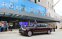 The Royal Bentley outside as Queen Elizabeth II officially opens the new Royal Papworth Hospital on the Cambridge Biomedical Campus. She met with staff and patients during her visit, as well as seeing some of the facilities at the world renowned heart and lung hospital. Cambridge, UK July 9th 2019<br /> CAP/ROS<br /> ©ROS/Capital Pictures