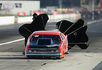 Aug. 31, 2012; Claremont, IN, USA: NHRA pro mod driver Thomas Tutterow IV during qualifying for the US Nationals at Lucas Oil Raceway. Mandatory Credit: Mark J. Rebilas-