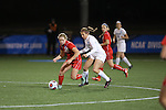 SALEM, VA - DECEMBER 3:Maggie Crist (27) and Brooke Firestone (25) battle for the ball during theDivision III Women's Soccer Championship held at Kerr Stadium on December 3, 2016 in Salem, Virginia. Washington St Louis defeated Messiah 5-4 in PKs for the national title. (Photo by Kelsey Grant/NCAA Photos)