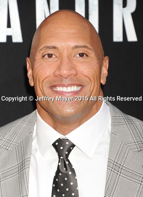 """HOLLYWOOD, CA - MAY 26: Actor Dwayne """"The Rock"""" Johnson arrives at the 'San Andreas' - Los Angeles Premiere at TCL Chinese Theatre IMAX on May 26, 2015 in Hollywood, California."""