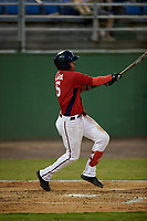 Potomac Nationals Gilbert Lara (6) hits a home run during a Carolina League game against the Myrtle Beach Pelicans on August 14, 2019 at Northwest Federal Field at Pfitzner Stadium in Woodbridge, Virginia.  Potomac defeated Myrtle Beach 7-0.  (Mike Janes/Four Seam Images)