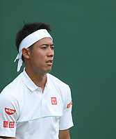 Kei Nishikori (JPN) during his match against Thiago Monteiro (BRA) in their Gentleman's Singles First Round match<br /> <br /> Photographer Rob Newell/CameraSport<br /> <br /> Wimbledon Lawn Tennis Championships - Day 2 - Tuesday 2nd July 2019 -  All England Lawn Tennis and Croquet Club - Wimbledon - London - England<br /> <br /> World Copyright © 2019 CameraSport. All rights reserved. 43 Linden Ave. Countesthorpe. Leicester. England. LE8 5PG - Tel: +44 (0) 116 277 4147 - admin@camerasport.com - www.camerasport.com