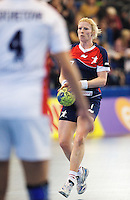 22 OCT 2011 - LONDON, GBR - Britain's Lynn McCafferty prepares to pass during the Women's 2012 European Handball Championship qualification match against Russia at the National Sports Centre at Crystal Palace (PHOTO (C) NIGEL FARROW)