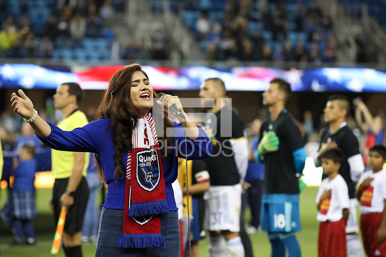 San Jose, CA - Wednesday September 19, 2018: National anthem during a Major League Soccer (MLS) match between the San Jose Earthquakes and Atlanta United FC at Avaya Stadium.