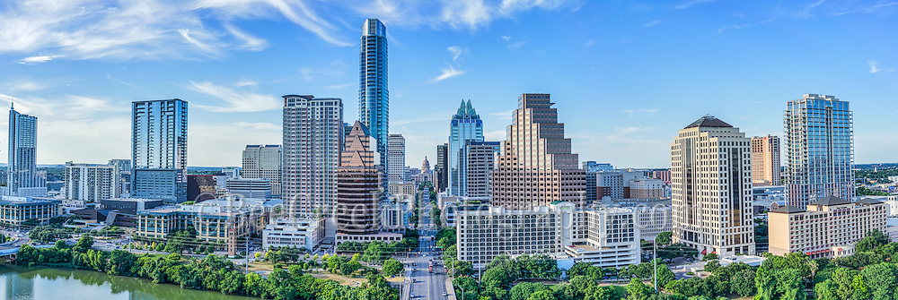 We captured this aerial panorama of the City of Austin skyline looking straight down Congress Ave.  In this cityscape you can see the Texas Capitol along with mamy of the city high-rise buildings including the Frost, Austonian, W Hotel, Austin 360 CondosOne Congress Plaza, Radisson Hotel, Marriott, Four Season Hotel, along with the Ashton Condos, and One Congress.  Also in the photo are a bit of Lady Bird Lake.