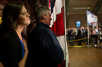 Senator Scott Brown (R-MA) waits with daugher Ayla Brown (left) backstage before being introduced at a rally at the American Civic Center in Wakefield, Massachusetts, USA, on Thurs., Nov. 2, 2012. Senator Scott Brown is seeking re-election to the Senate.  His opponent is Elizabeth Warren, a democrat.