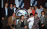 Ron Howard, Anson Williams, Ted McGinley, Henry Winkler, Marion Ross, Tom Bosley, Erin Moran, Scott Baio, Cathy Silvers and Donny Most with the cast of &quot;HAPPY DAYS&quot; <br />