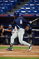 Charlotte Stone Crabs Jesus Sanchez (4) follows through on a swing during the second game of a doubleheader against the St. Lucie Mets on April 24, 2018 at First Data Field in Port St. Lucie, Florida.  St. Lucie defeated Charlotte 5-3.  (Mike Janes/Four Seam Images)