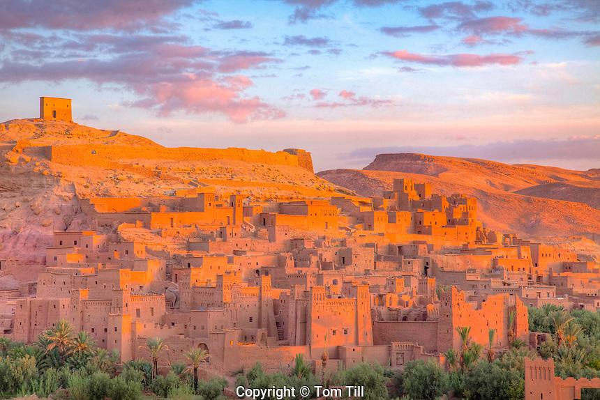 Ait Benhaddou, Morocco  Ancient mud-brick kasbah, Sahara Desert  1,000 year old caravanserai, UNESCO World Heritage Site