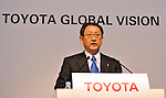 "March 9, 2011, Tokyo, Japan - Toyota Motor Corp. President Akio Toyota unveils the ""Global Vision 2020,"" a corporate outline for the future at its Tokyo head office on Wednesday, March 9, 2011. The 10-year strategy incorporates lessons the worldÅfs biggest automaker learned through the market downturn that followed the global financial crisis and through a series of product recalls. (Photo by Natsuki Sakai/AFLO) [3615] -mis-"