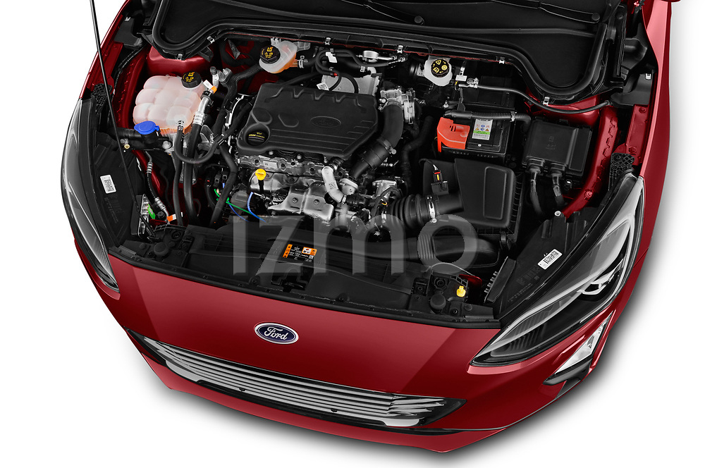 Car stock 2019 Ford Focus Titanium Business 5 Door Hatchback engine high angle detail view