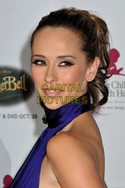 "JENNIFER LOVE HEWITT .5th Annual ""Runway For Life"" Benefiting St. Jude Children's Research Hospital at the Beverly Hilton Hotel, Beverly Hills, California, USA, 11 October 2008. .portrait headshot ponytail over shoulder purple dress halterneck.CAP/ADM/BP.©Byron Purvis/Admedia/Capital PIctures"