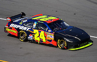 Oct 5, 2008; Talladega, AL, USA; NASCAR Sprint Cup Series driver Jeff Gordon returns to the race with a new front end after crashing during the Amp Energy 500 at the Talladega Superspeedway. Mandatory Credit: Mark J. Rebilas-