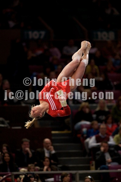 3/1/08 - Photo by John Cheng - Samantha Peszek of the United States performs on the floor exercise at the Tyson American Cup in Madison Square GardenPhoto by John Cheng - Tyson American Cup 2008 in Madison Square Garden, New York.Samantha Peszek